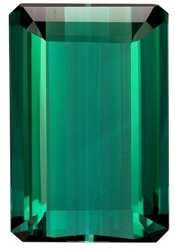 17.33 carats Blue Green Tourmaline Loose Gemstone in Emerald Cut, Rich Blue Green, 19.4 x 12.9 mm