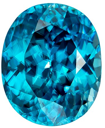 17.7 x 14.3 mm Blue Zircon Genuine Gemstone in Oval Cut, Vivid Teal Blue, 24.09 carats
