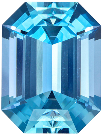 One of a Kind Aquamarine Super Gemstone in Emerald Cut, Amazing Vivid Blue Color and Cut, 16.74 carats