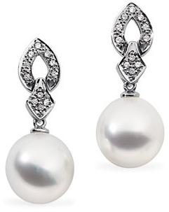 18 Karat Palladium White 1/4 Carat Total Weight tw Diamond Semi-set Earrings for Pearl