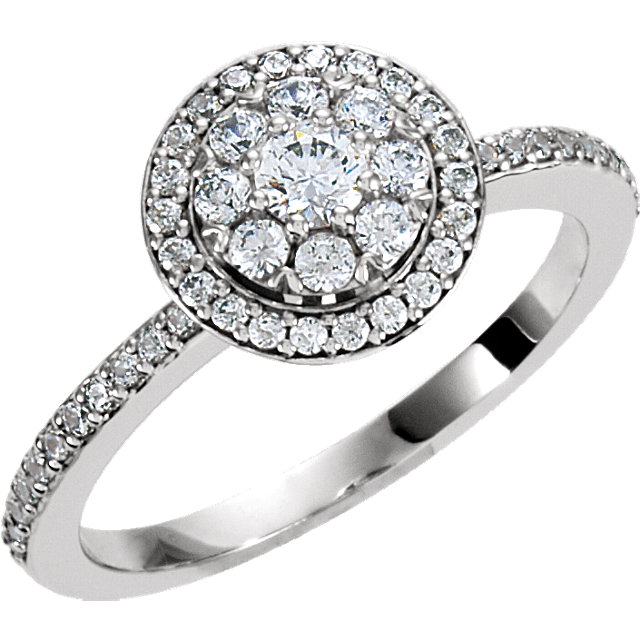 Great Deal in 18 Karat White Gold 0.33 Carat Total Weight Diamond Halo-style Cluster Engagement Ring
