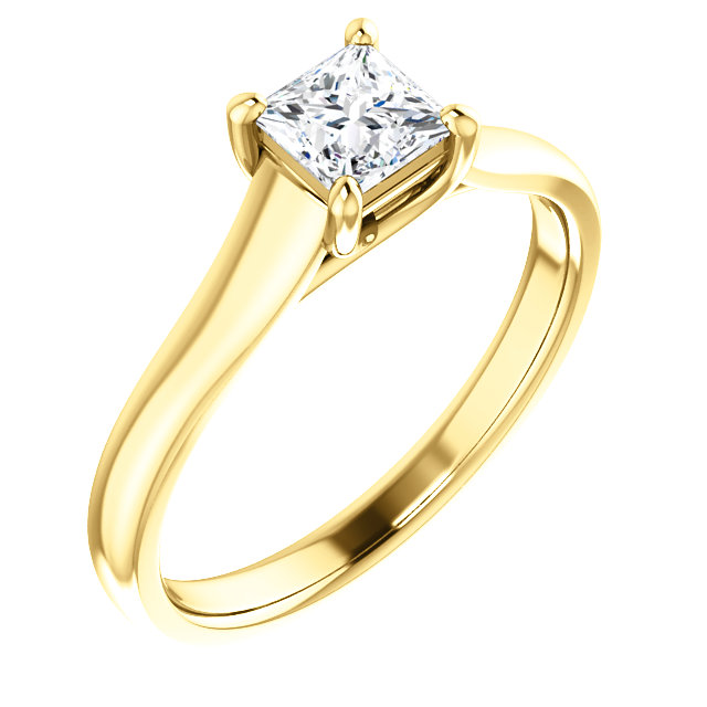 Great Gift in 18 Karat Yellow Gold 0.50 Carat Total Weight Diamond Woven Solitaire Engagement Ring
