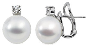 18 Palladium White 1/2 CTW Diamond & 12mm South Sea Cultured Pearl Earrings