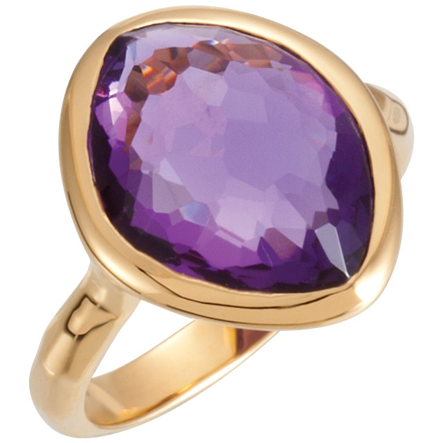 18 KT Vermeil 15x11x6mm Amethyst Ring Size 6 with Box