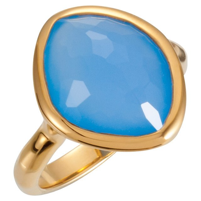 18K Vermeil 15x11x6mm Blue Chalcedony Ring Size 7 with Box