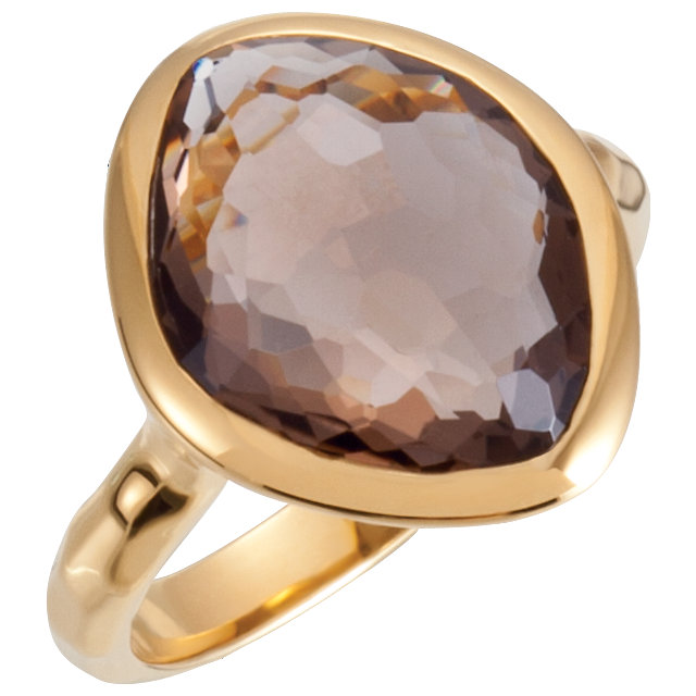 18K Vermeil 15x11x6mm Smoky Quartz Ring Size 6 with Box