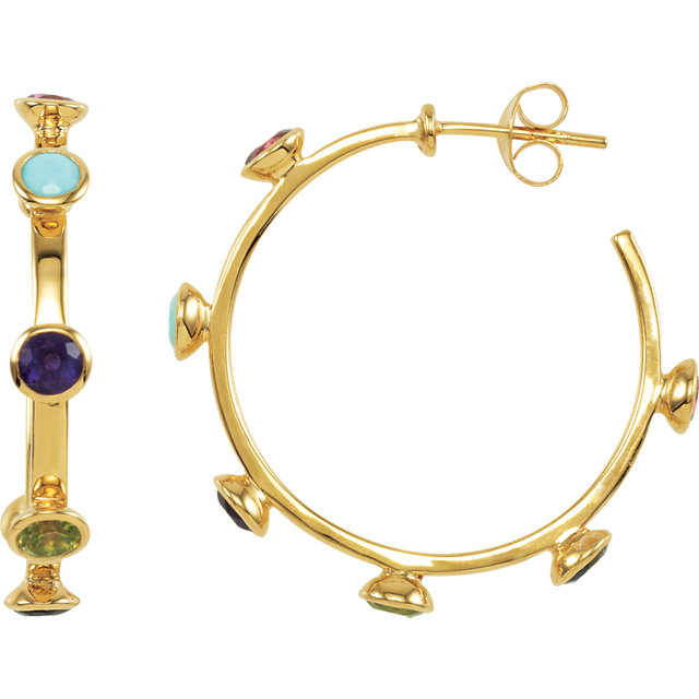 18K Vermeil 30mm Multi-Gemstone Hoop Earrings