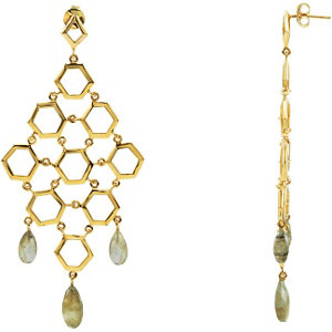 18K Vermeil Labradorite Chandelier Earrings with Box