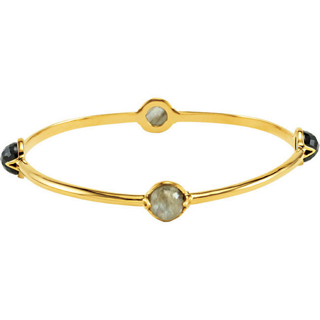 18K Vermeil Labradorite & Onyx Bangle 7.5