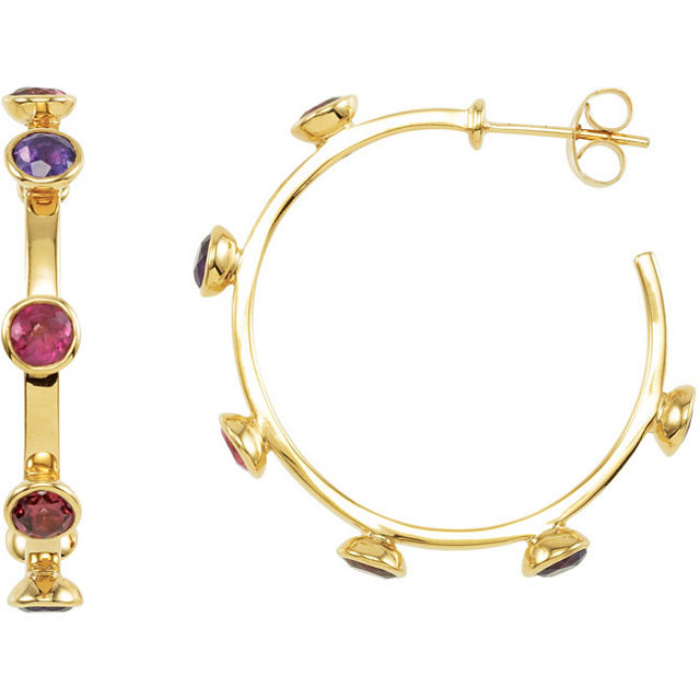 18K Vermeil Rhodolite Garnet, Amethyst & Pink Tourmaline 30mm Hoop Earrings