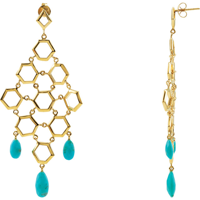 18 KT Vermeil Turquoise Chandelier Earrings