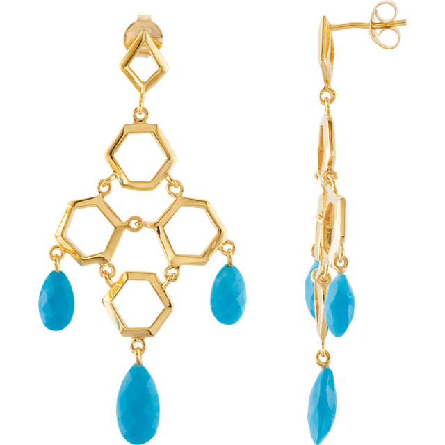 18K Vermeil Turquoise Chandelier Earrings