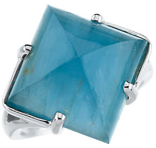 Easy Gift in 14 Karat Yellow Gold Aquamarine Ring
