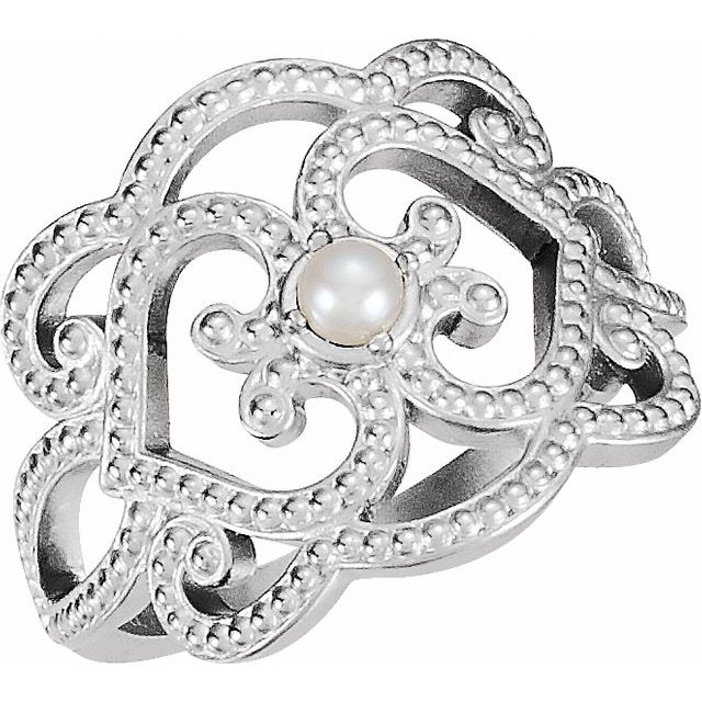 White pearl Ring in 18 Karat White Gold Granulated Cultured Seed Pearl Ring