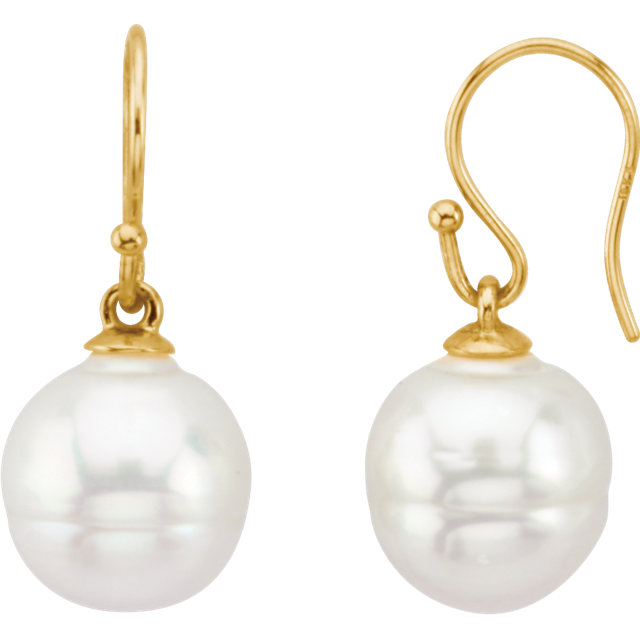 18K Yellow 15mm South Sea Cultured Pearl Earrings