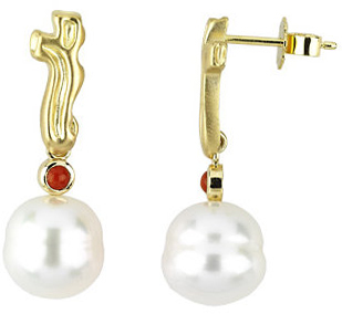 18 KT Yellow 3mm Coral & 11mm South Sea Cultured Pearl Earrings