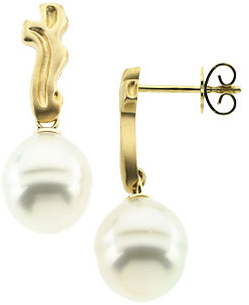 18K Yellow South Sea Cultured Pearl Earrings