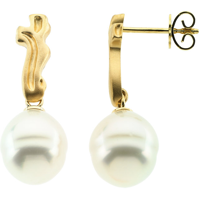 18 KT Yellow South Sea Cultured Pearl Earrings