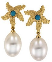18K Yellow Turquoise & South Sea Cultured Circle Pearl Starfish Earrings