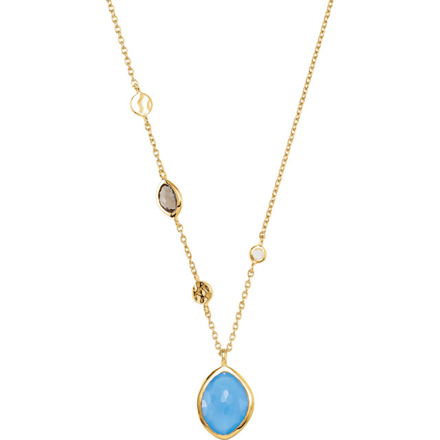 18K Yellow Vermeil Blue Chalcedony, Smoky Quartz & Moonstone 18
