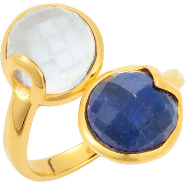 18K Yellow Vermeil Kyanite & Blue Chalcedony Ring Size 6