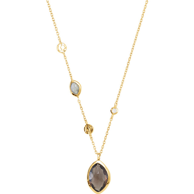 18K Yellow Vermeil Smoky Quartz, Labradorite & Moonstone 18