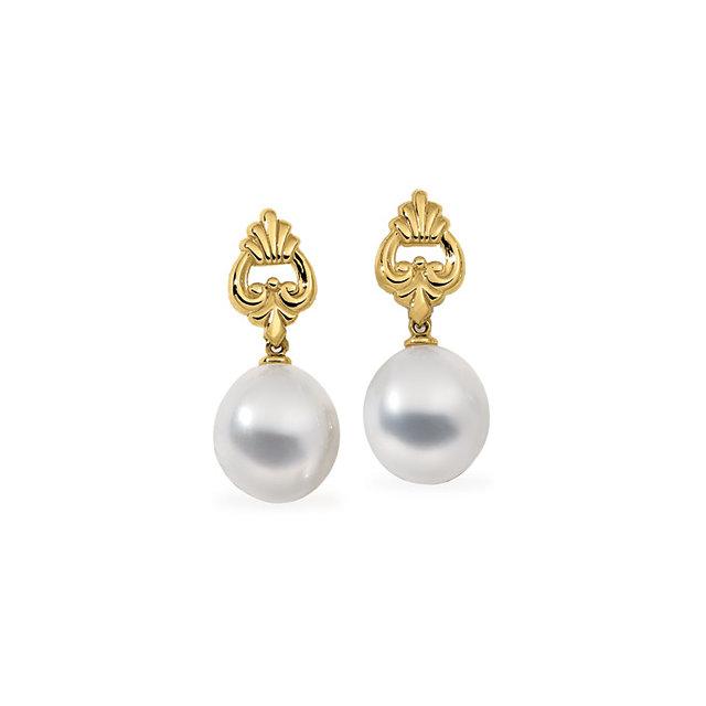 18KT Palladium White 12mm South Sea Cultured Pearl Earrings