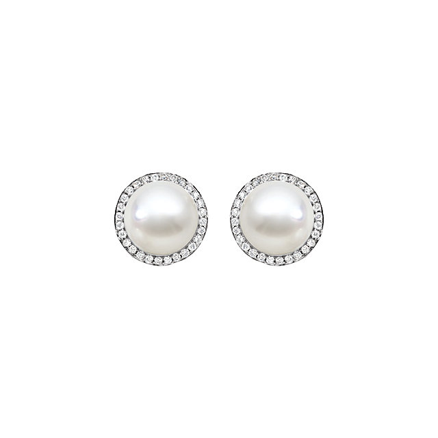 Great Buy in 18K Palladium White South Sea Cultured Pearl & 0.85 Carat Total Weight Diamond Earrings
