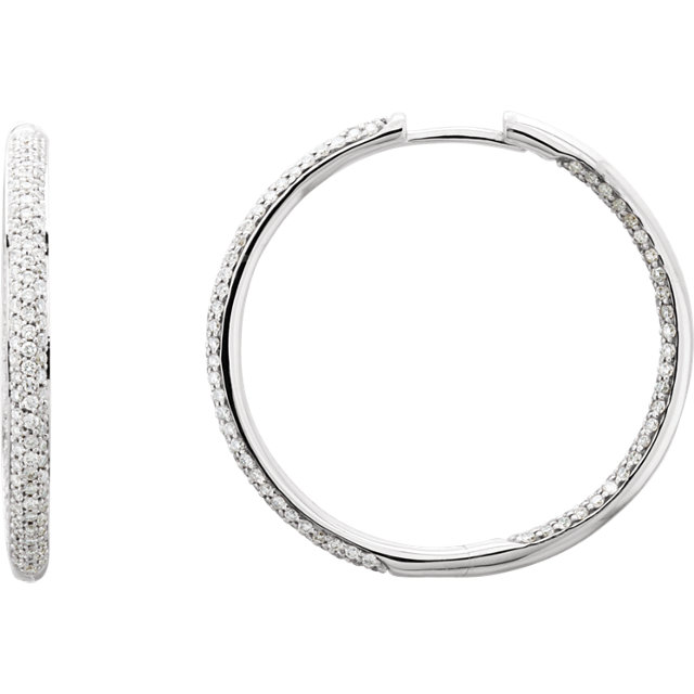 Surprise Her with  18 Karat White Gold 0.75 Carat Total Weight Diamond Inside/Outside Hoop Earrings