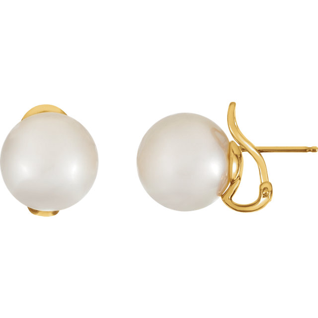 18KT Yellow 14mm South Sea Cultured Pearl Earrings