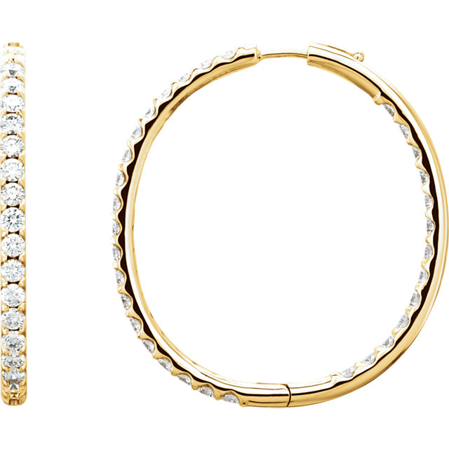 Low Price on Quality 18 KT Yellow Gold 5 Carat TW Diamond Inside/Outside Hoop Earrings