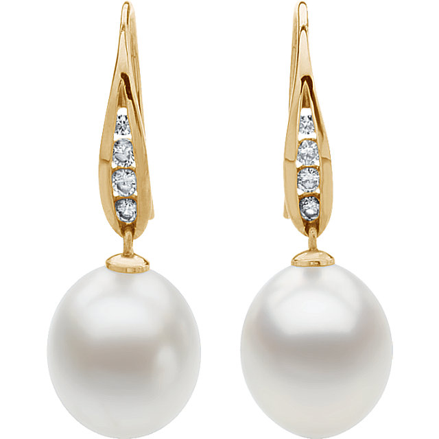 18 KT Yellow South Sea Cultured Pearl & 1/3 CTW Diamond Earrings
