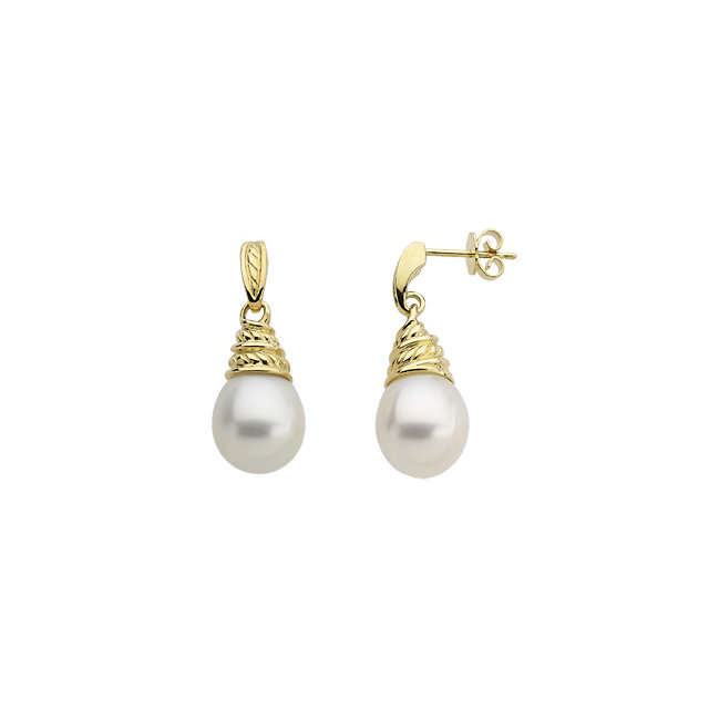 18KT Yellow South Sea Cultured Pearl Earrings