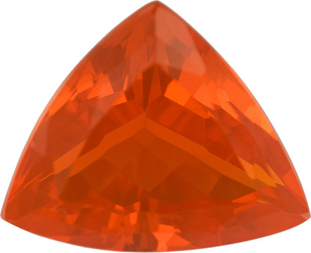 Unique 19.1 x 15.5 mm Fire Mexican Opal Loose Gem in Trillion German Cut, 10.66 carat
