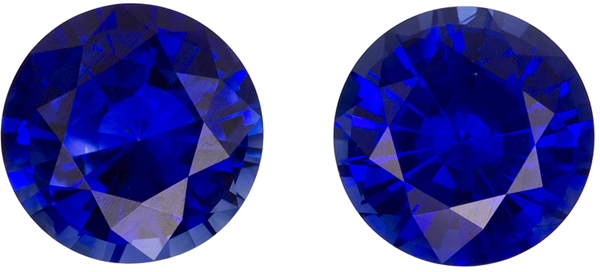 2.00 carats Pair of Blue Sapphires in Vivid Rich Blue Color in 5.9 mm Size Round Cuts