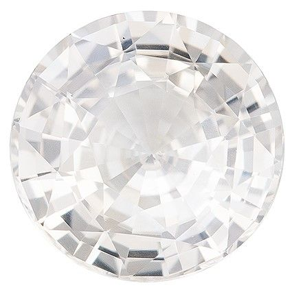 Genuine White Sapphire Gemstone, 2.01 carats, Round Cut, 7.7 mm, Great Deal on This Gem