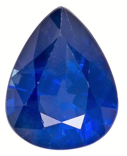 Gorgeous Stone in 2.03 carats Sapphire Genuine Gemstone in Pear Cut, Intense Blue, 8.9 x 7 mm