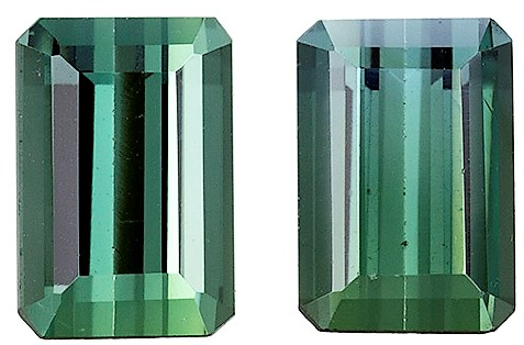 2.03 carats Blue Green Tourmaline Matched Gemstone in Pair in Emerald Cut, Steely Blue Green, 6.5 x 4.5 mm