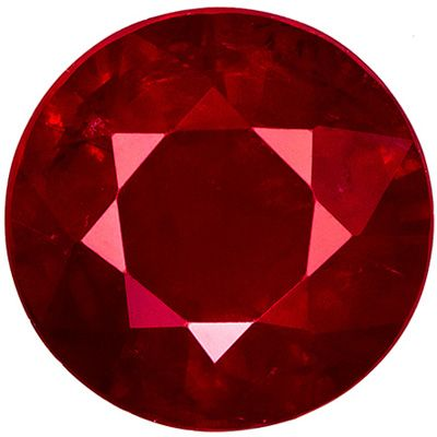 Faceted 2.03 carat Red Ruby Gemstone in Round Cut 7.5 mm