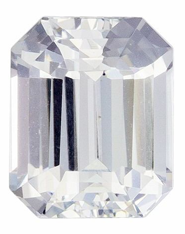 Special  White Sapphire Gemstone 2.03 carats, Emerald Cut, 7.49 x 6.1 x 4.32 mm GIA Certified No Heat