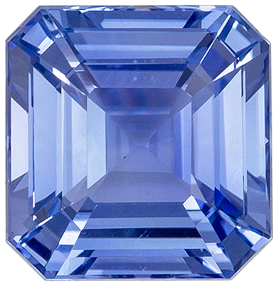Beautiful Unheated GIA Certified Sapphire Loose Gem, 6.93 x 6.72 x 4.32 mm, Light Cornflower Blue, Emerald Cut, 2.04 carats