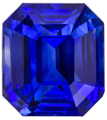 Eye Catching Sapphire Loose Gem, 6.9 x 6.3mm, Medium Rich Blue, Emerald Cut, 2.04 carats