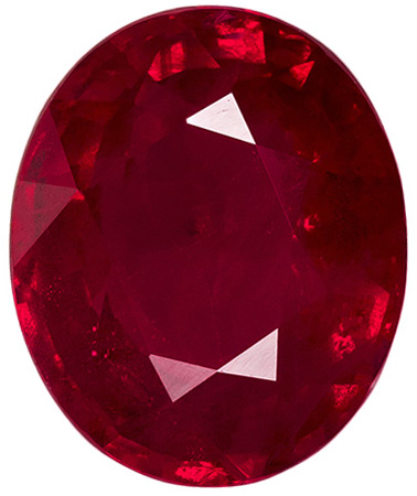 2.05 carats Ruby Loose Gemstone Oval Cut, Pure Red, 8.2 x 6.8 mm