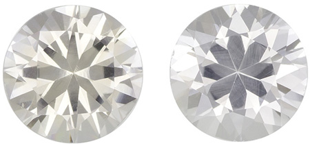 2.05 carats White Sapphire 2 Piece Matched Pair in Round Cut, Very Colorless White, 6.1 mm