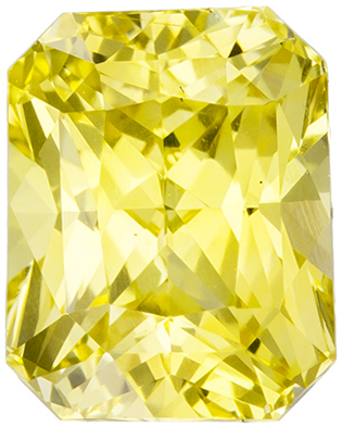2.06 carats - GIA Certified Radiant Cut Yellow Sapphire, No Heat Treatment Gemstone, Intense Yellow Color in 7.3 x 5.8 mm