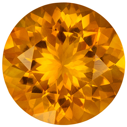 2.09 carats Citrine Loose Gemstone Round Cut, Golden Yellow, 9 mm