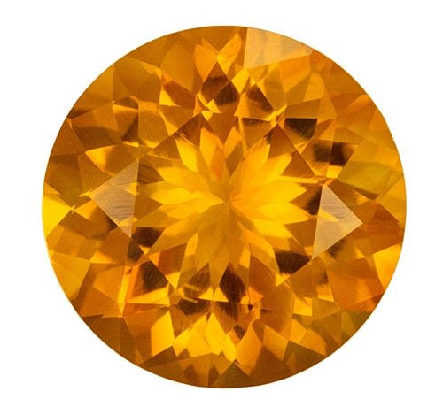 2.09 carats Citrine Loose Gemstone in Round Cut, Golden Yellow, 9 mm