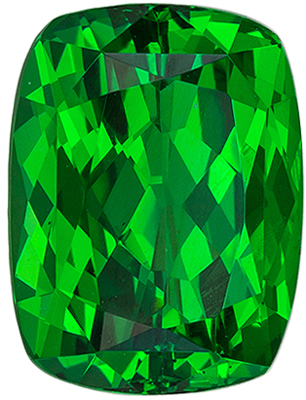 Very Attractive Tsavorite Genuine Gem, 2.1 carats, Vivid Grass Green, Cushion Cut, 8.1 x 6.1mm