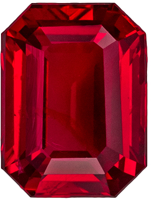 Fine No Treatment GIA Certified Ruby Quality Gem, 8.18 x 6.13 x 3.79 mm, Vivid Red, Emerald Cut, 2.1 carats
