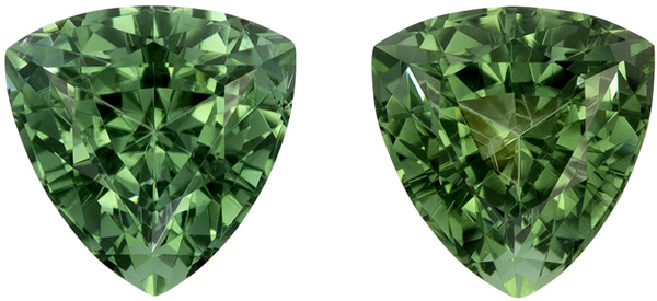 2.10 carats Blue Green Tourmaline Pair, Rich Minty Green Color in 6.4 mm Trillion Cuts